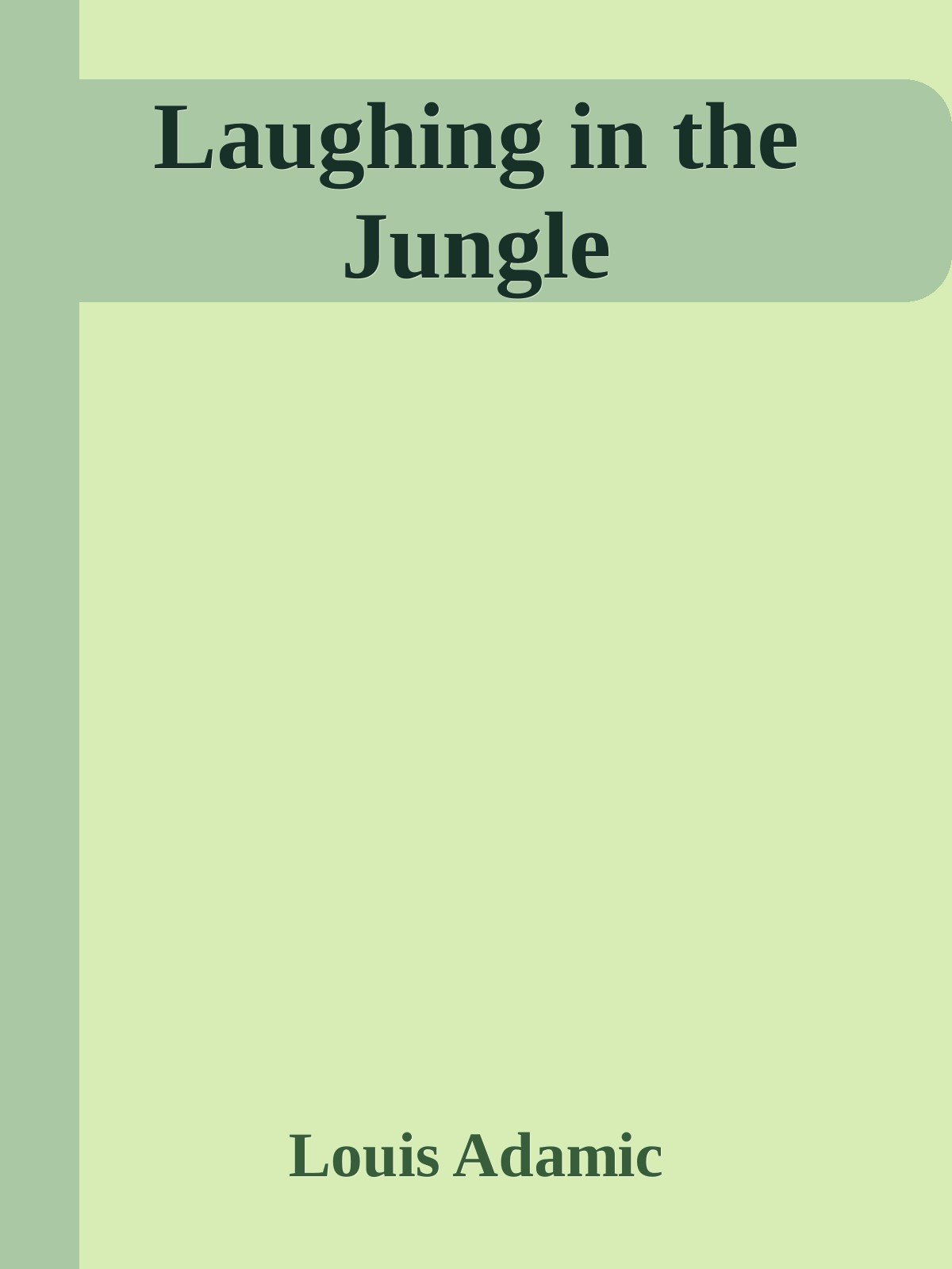 Laughing in the Jungle 1st Edition Pdf Free Download